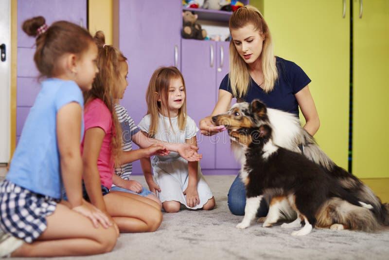 Crianças que jogam com os cães no pré-escolar imagem de stock
