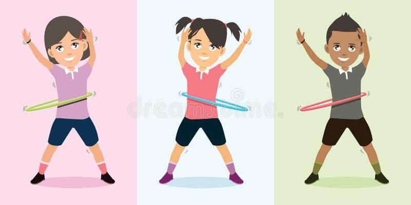 Crianças que jogam a dança da aro com ilustração feliz do vetor da cara ilustração do vetor