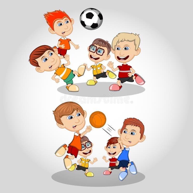Crianças que jogam desenhos animados do futebol e do basquetebol ilustração do vetor