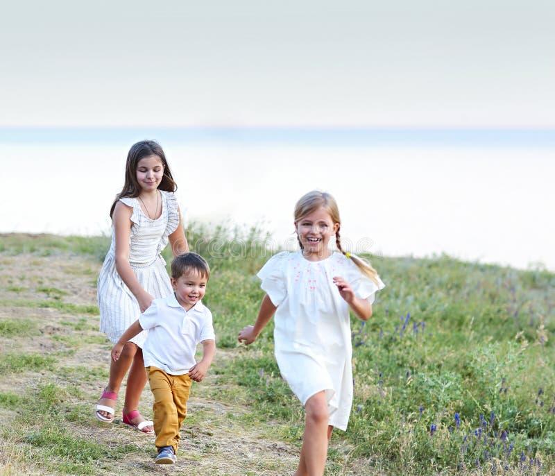 Crianças que jogam e que correm no parque foto de stock