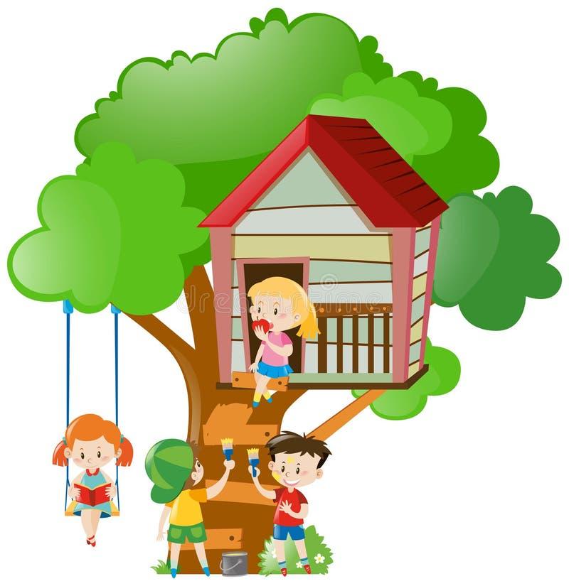 Crianças que jogam e que pintam a casa na árvore ilustração royalty free