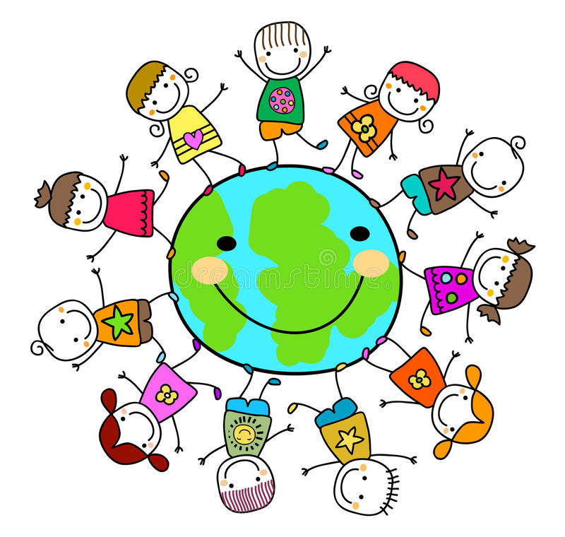 Crianças que jogam em torno do planeta da terra ilustração do vetor