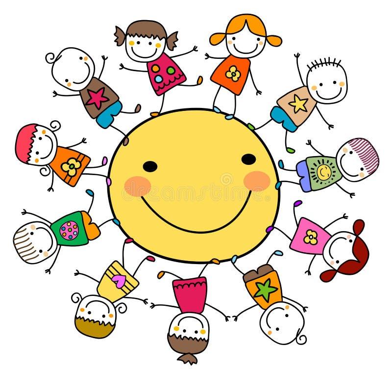 Crianças que jogam em torno do sol ilustração stock