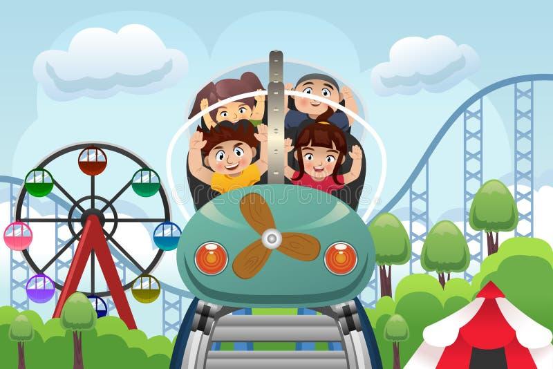 Crianças que jogam em um parque de diversões ilustração royalty free