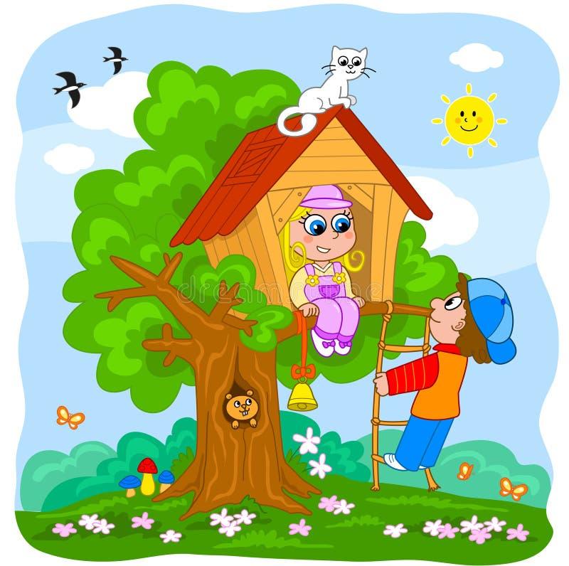 Crianças que jogam em uma casa de árvore ilustração do vetor