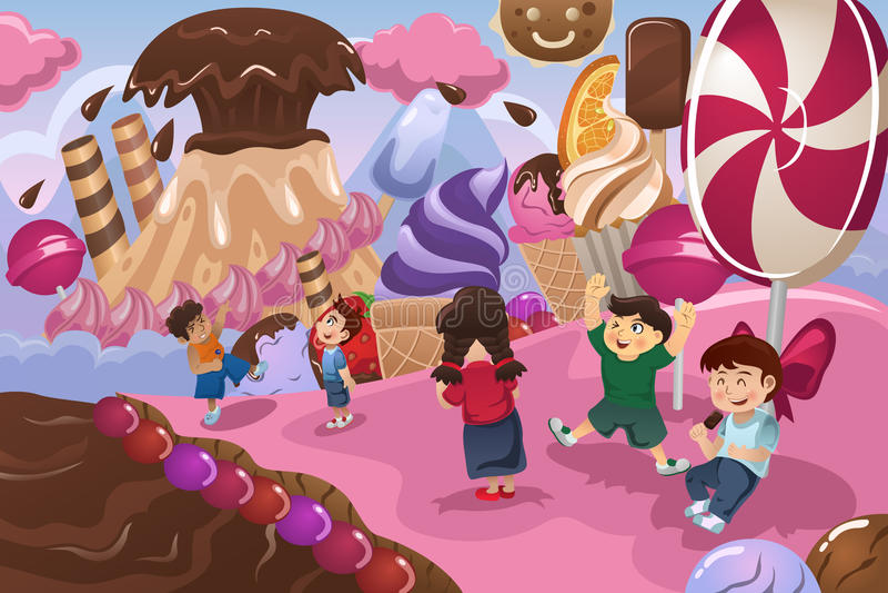 Crianças que jogam em uma terra da sobremesa ilustração royalty free