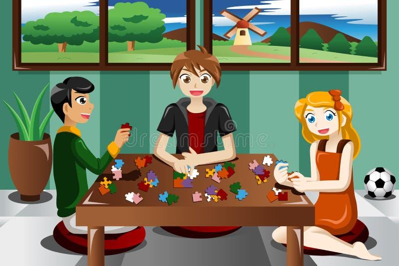 Crianças que jogam enigmas ilustração do vetor