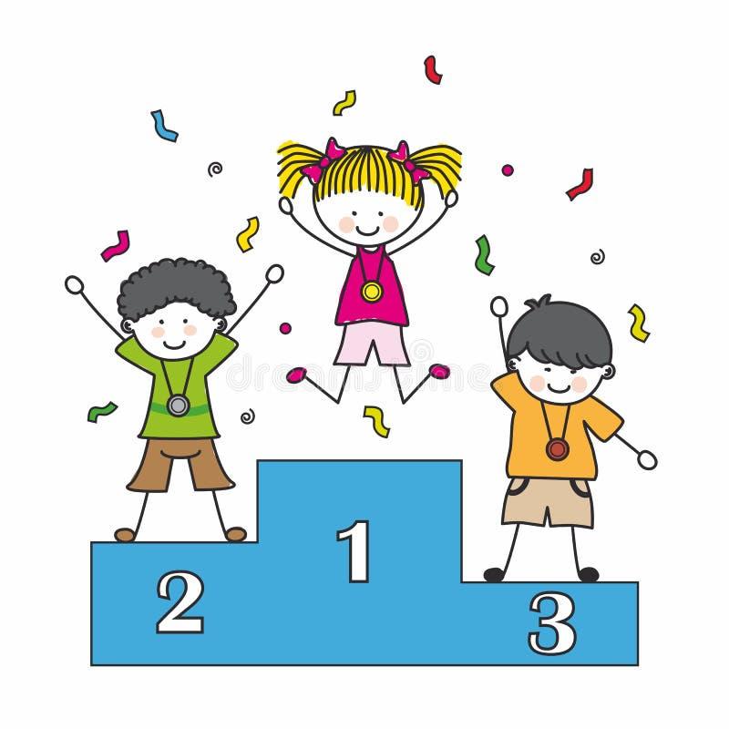 Crianças que jogam esportes ilustração royalty free