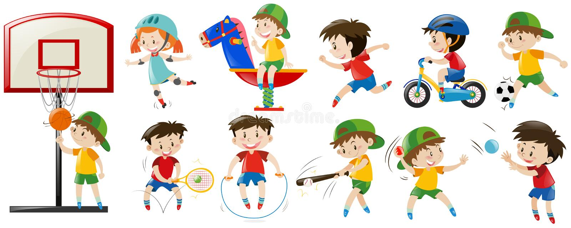 Crianças que jogam esportes e o jogo diferentes ilustração stock