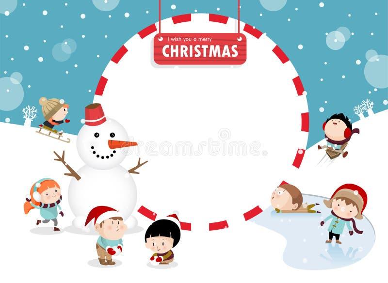 Crianças que jogam fora no inverno A ilustração royalty free