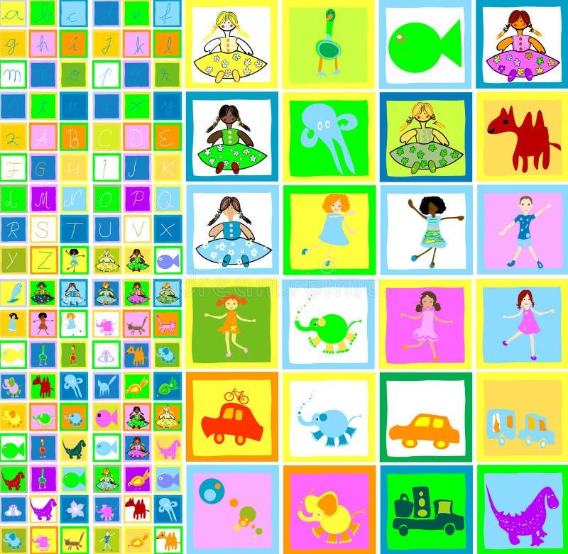 Crianças que jogam, mundo dos miúdos ilustração stock