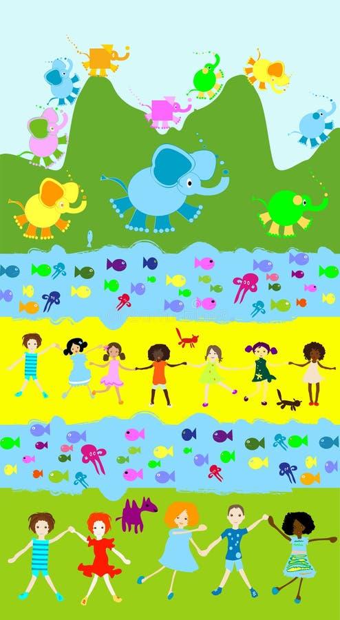 Crianças que jogam, mundo dos miúdos ilustração royalty free