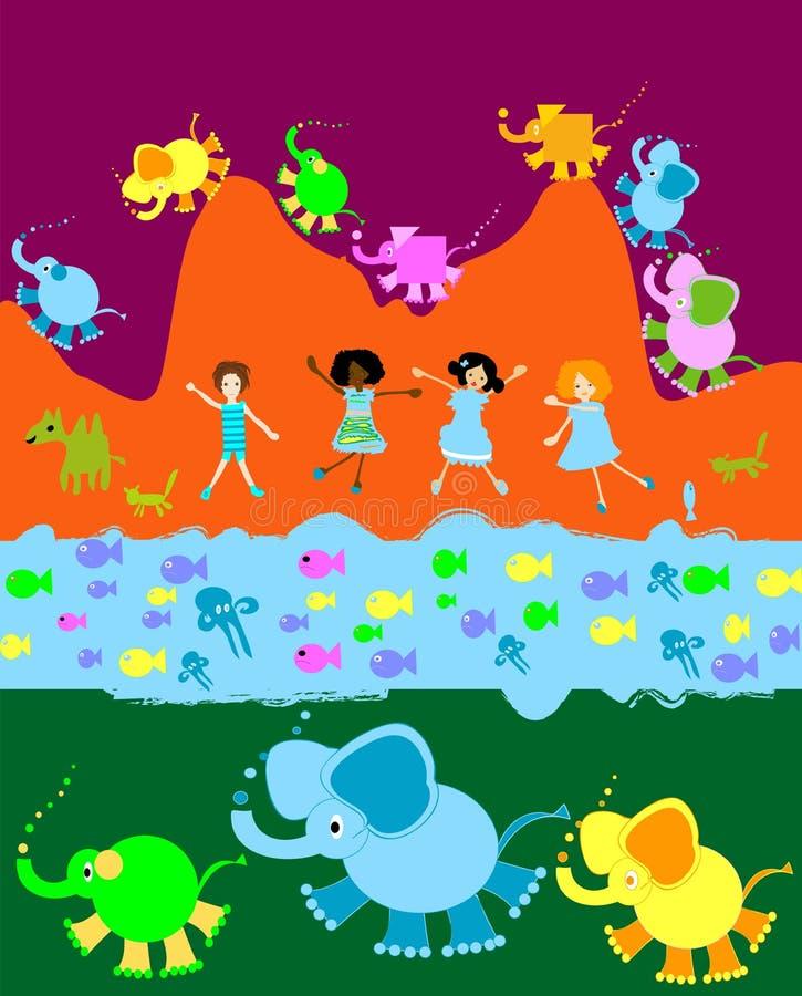 Crianças que jogam, mundo dos miúdos ilustração do vetor
