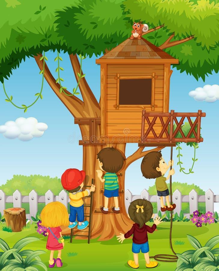 Crianças que jogam na casa na árvore ilustração do vetor