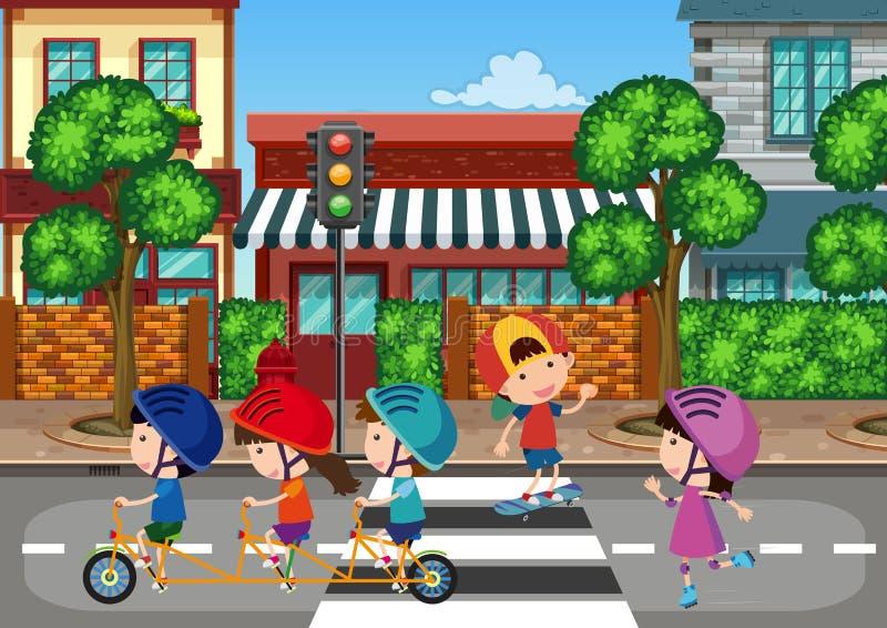 Crianças que jogam na cidade urbana ilustração stock