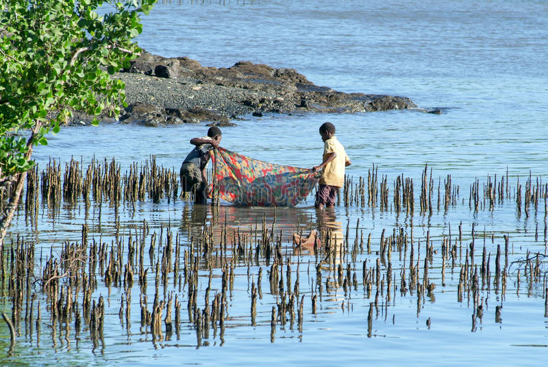 Crianças que jogam na costa da ilha de Mayotte, França foto de stock royalty free