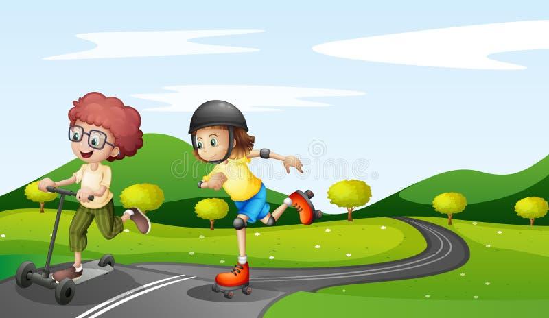 Crianças que jogam na estrada ilustração do vetor