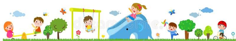 Crianças que jogam na ilustração do parque público ilustração do vetor