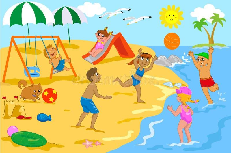 Crianças que jogam na praia ilustração royalty free