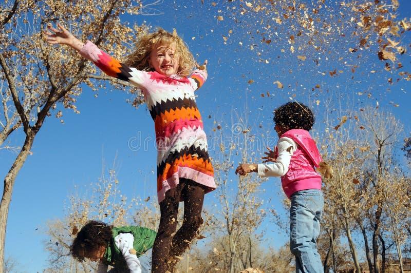 Crianças que jogam nas folhas fotografia de stock