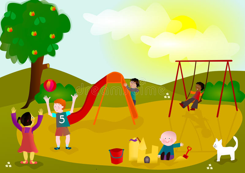 Crianças que jogam no campo de jogos ilustração stock