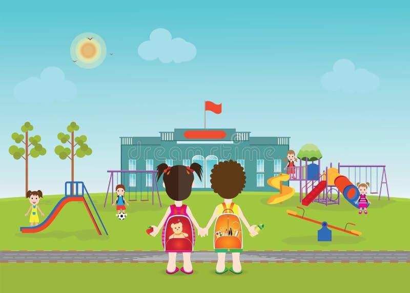 Crianças que jogam no campo de jogos com equipamento ilustração do vetor