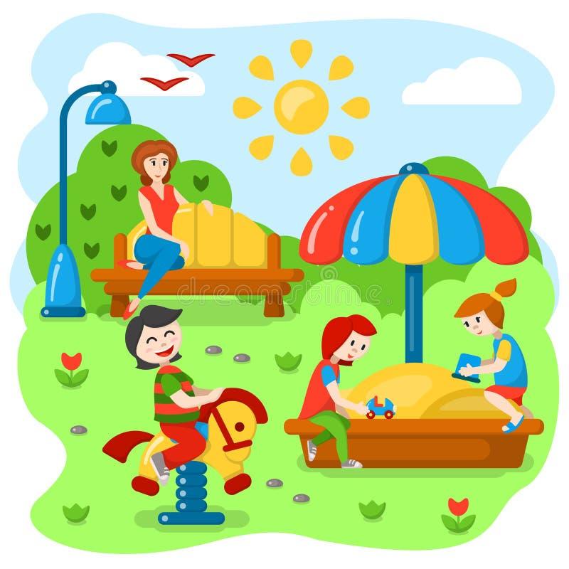 Crianças que jogam no campo de jogos ilustração do vetor