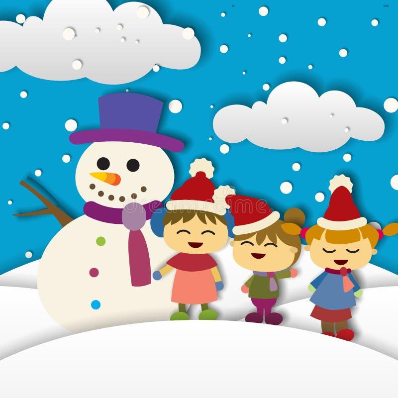 Crianças que jogam no inverno Fundo Design ilustração do vetor