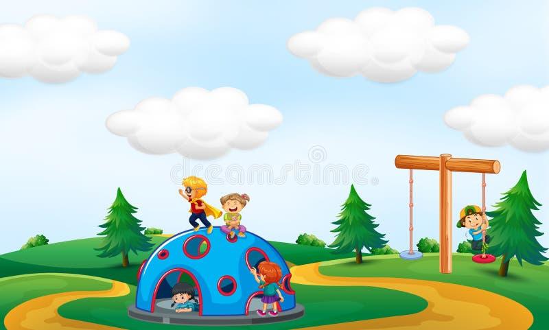 Crianças que jogam no parque ilustração stock