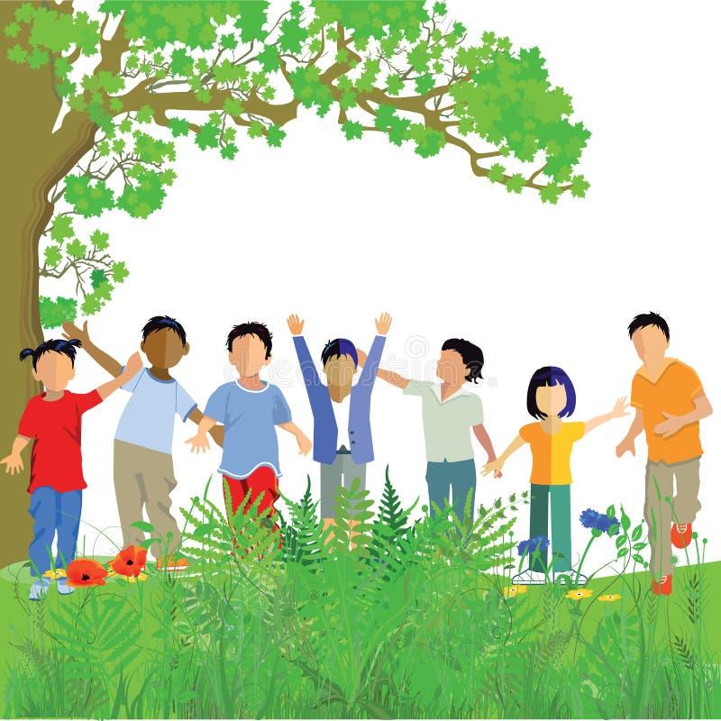 Crianças que jogam no prado ilustração do vetor