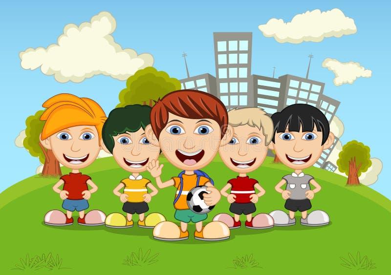 Crianças que jogam nos desenhos animados do parque ilustração do vetor