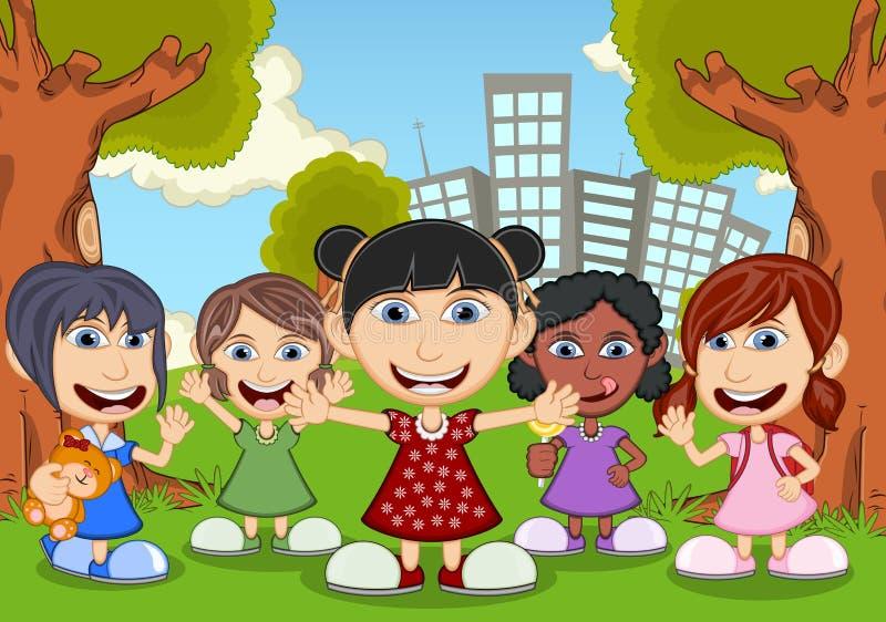 Crianças que jogam nos desenhos animados do parque ilustração royalty free