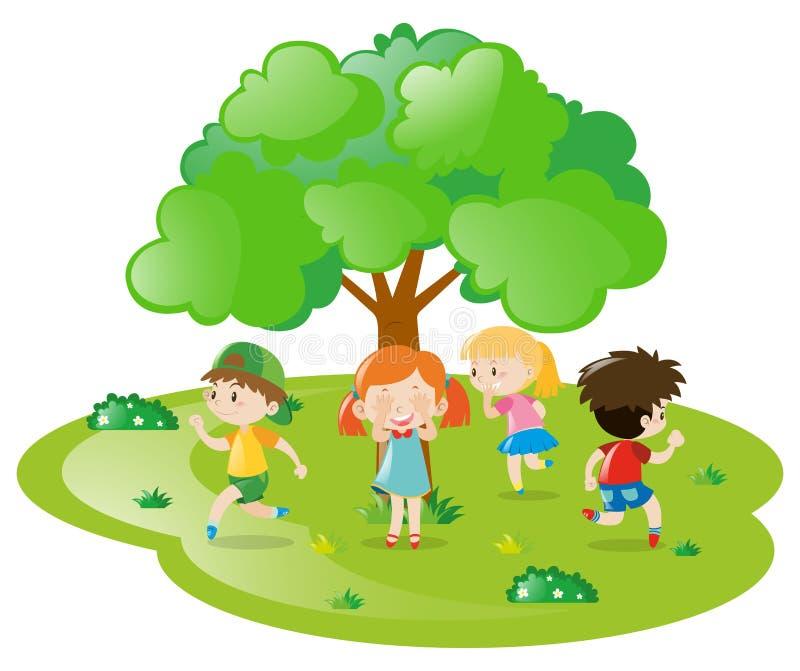 Crianças que jogam o esconde-esconde no parque ilustração royalty free