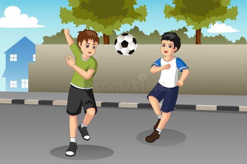 Crianças que jogam o futebol na ilustração da rua ilustração stock