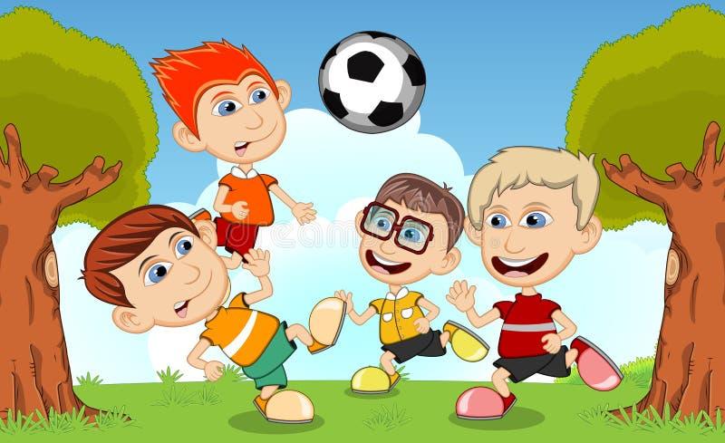Crianças Que Jogam O Futebol Nos Desenhos Animados Do: Crianças Que Jogam O Futebol Nos Desenhos Animados Da Rua