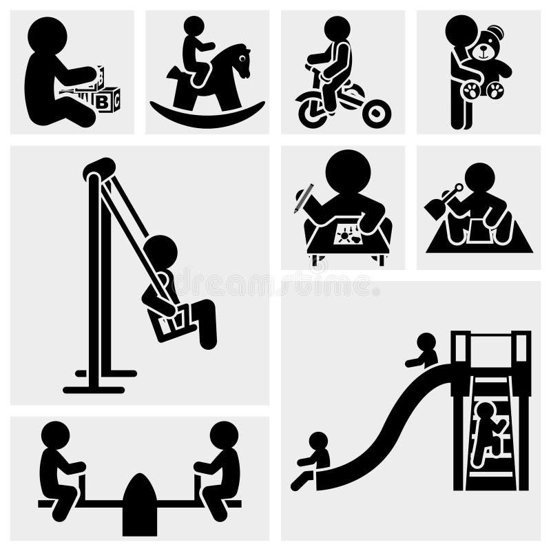 Crianças que jogam o grupo do ícone do vetor. ilustração royalty free