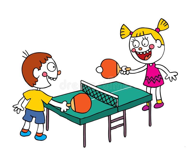 Crianças que jogam o pong do sibilo do tênis de mesa ilustração do vetor