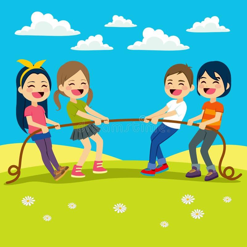 Crianças que jogam o reboque ilustração royalty free