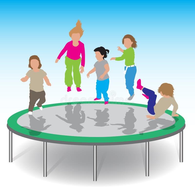 Crianças que jogam o trampolim ilustração do vetor