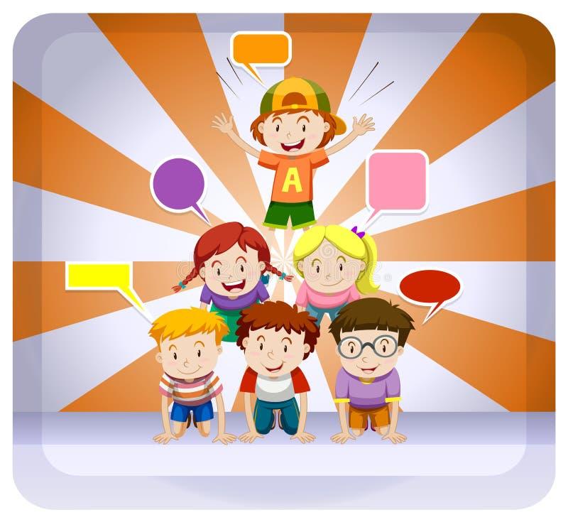 Crianças que jogam a pirâmide humana no botão ilustração royalty free