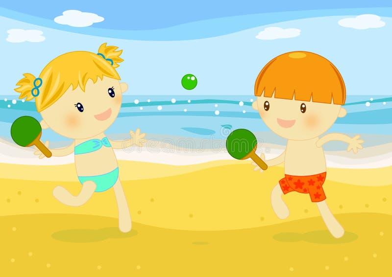 Crianças que jogam raquetes na praia ilustração do vetor
