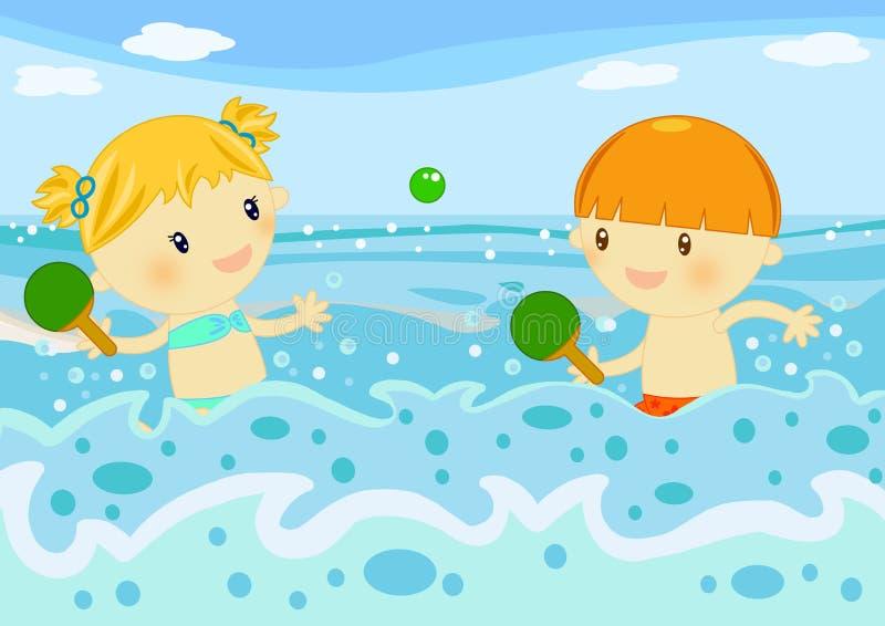 Crianças que jogam raquetes no mar