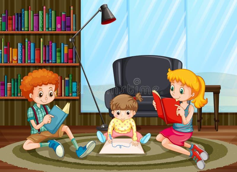 Crianças que leem e que tiram na sala ilustração do vetor