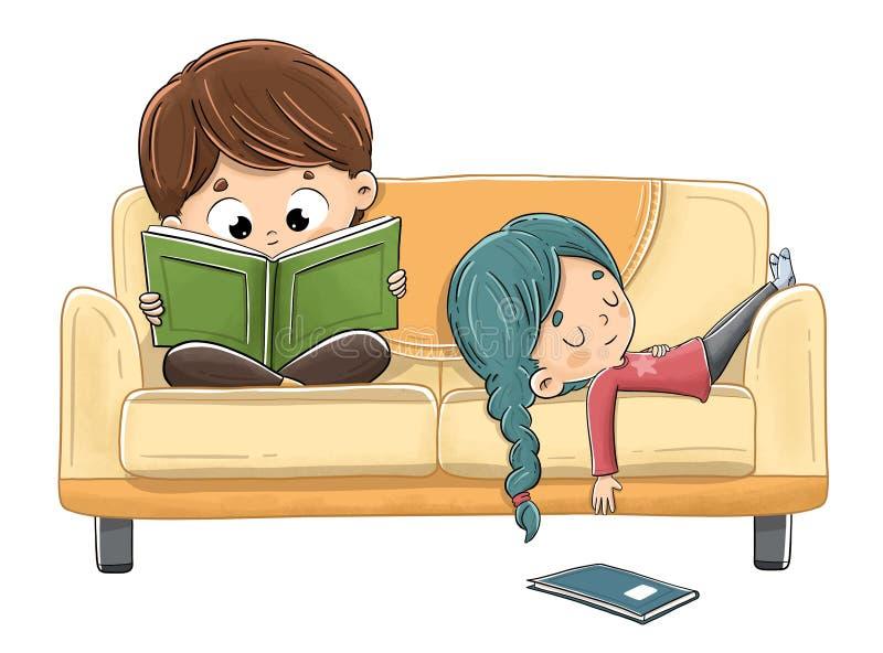 Crianças que leem no sofá ilustração royalty free