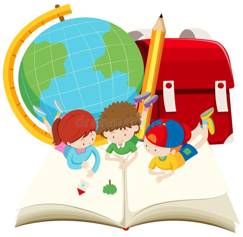 crianças que leem o livro grande ilustração stock