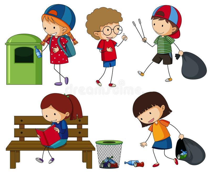Crianças que limpam o lixo ilustração royalty free