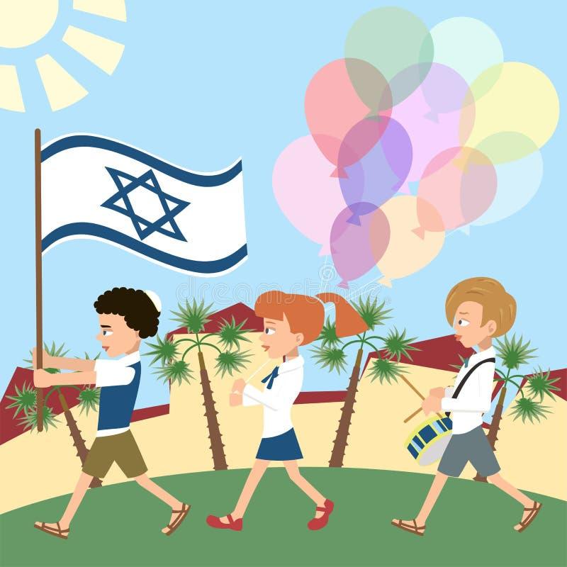 Crianças que marcham com bandeira de Israel ilustração royalty free