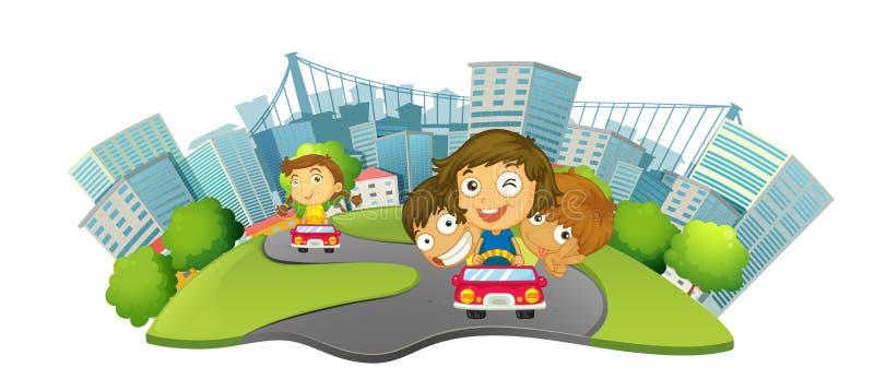 Crianças que montam carros no parque da cidade ilustração royalty free