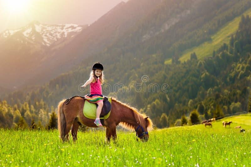 Crianças que montam o pônei Criança no cavalo em montanhas dos cumes fotos de stock