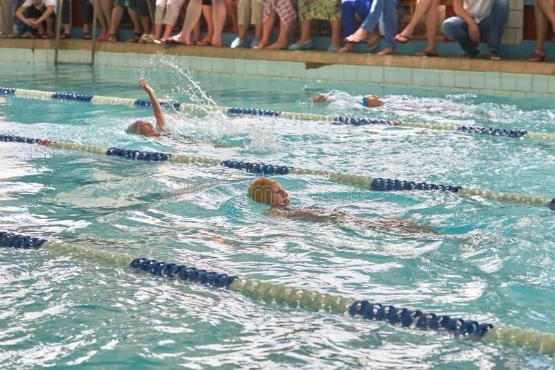 Crianças que nadam o estilo livre na lição nadadora foto de stock